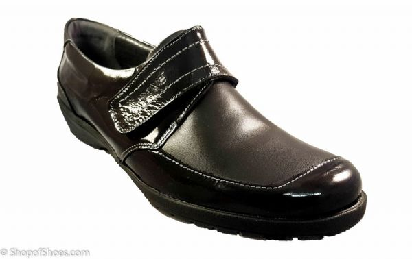 Jenny Ladies black soft leather velcro shoe with patent detail E - EE fit